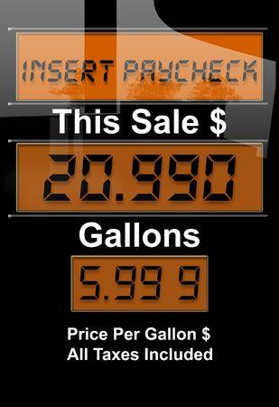 unleaded: Concept image with gas nozzle digital sales amounts