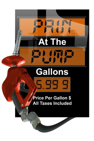 Concept image with gas nozzle and prices photo