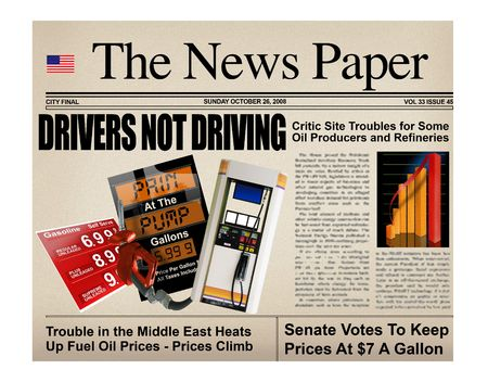 regular: Concept newspaper with various gasoline headlines