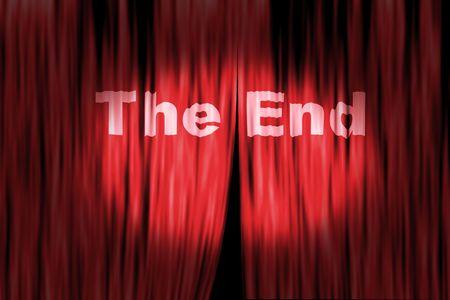the end: Concept Bild mit B�hnenvorhang und Spot-Licht Lizenzfreie Bilder