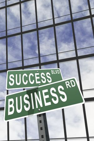 Business slogans on a street sign against building Stock Photo - 3289216