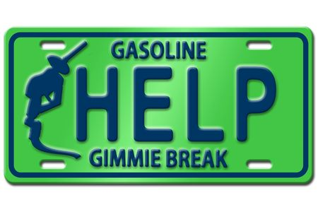 Concept image with gas nozzle on license plate photo
