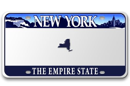 Concept image with different state on license plate BLANK (not a real license plate - photoshoped) Stock Photo