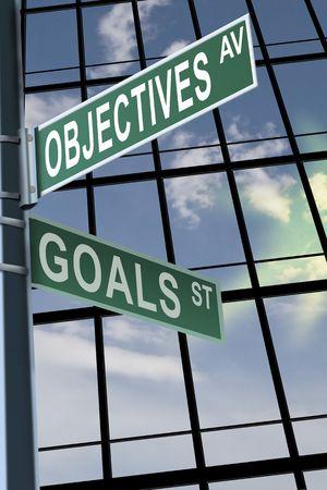 Business slogans op een weg ondertekenen pole