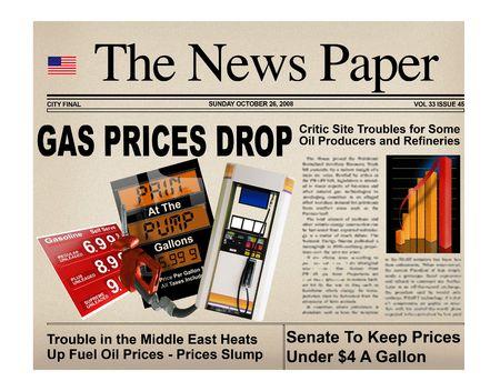 Concept krant (niet echt is photoshop) met verschillende benzine headlines Stockfoto