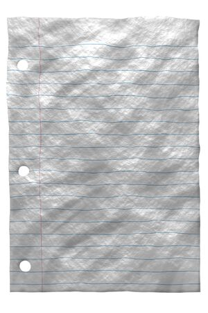 Wrinkled paper with lines on white back ground