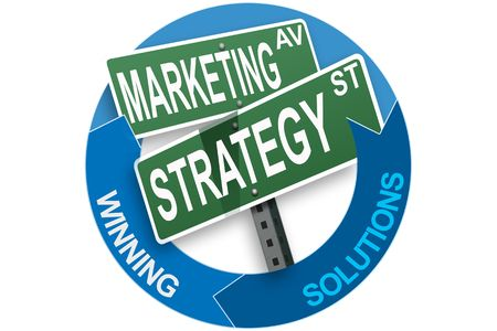 Business slogans on a circle with two hands