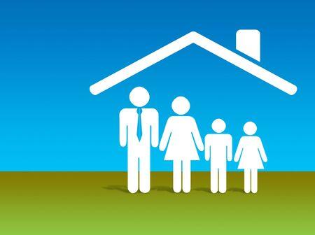 Illustratie van een huis met een logo aanduiding veiligheid