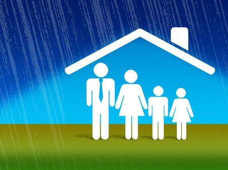 property insurance: Ilustraci�n de una casa con un logotipo que indica la seguridad