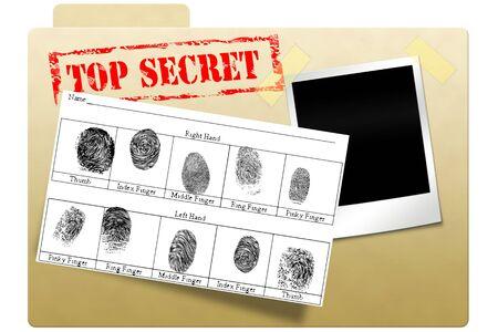 Geheim document map met topgeheime gedrukt op gezicht Stockfoto