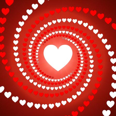 espiral: fondo abstracto rojo, rojo y espiral corazón blanco Foto de archivo