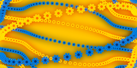 flowerbed: abstract background, blue and yellow flowers Stock Photo