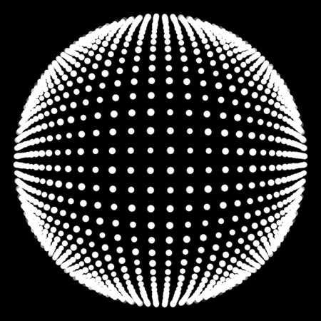 particle: white sphere and black background, particle circle Stock Photo