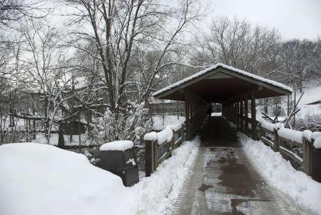 pedestrian bridge: Pedestrian bridge over a lake in winter Stock Photo