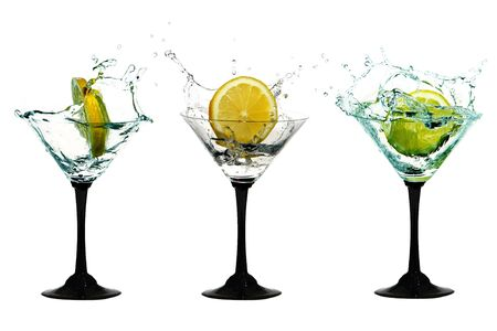 Water crown in cocktail glasses Stock Photo
