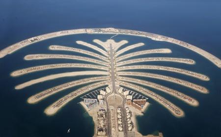 island: Jumeirah Palm Island Development In Dubai  Stock Photo