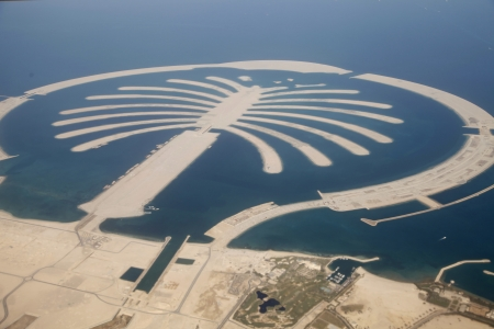 Jumeirah Palm Island Development In Dubai  Stock Photo