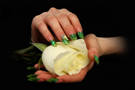 Beautiful hands with french manicure on black background