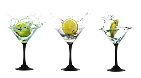 alcohol water crown in cocktail glasses, white backgrou