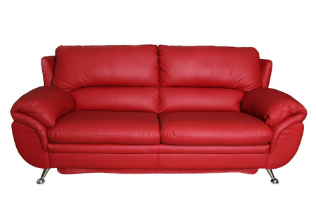 design office: Red Sofa isolated on white background Stock Photo