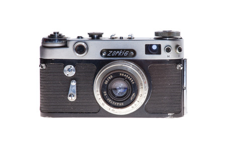 retro vintage analogue film camera isolated background Editorial