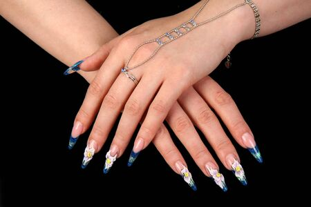 Nails Human fingers with long fingernail and beautiful manicure Banque d'images - 143336548
