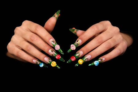 Nails Human fingers with fingernail and beautiful manicure Banque d'images