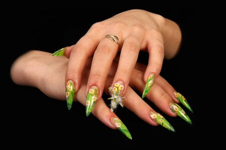 Nails Human fingers with long fingernail and beautiful manicure Banque d'images