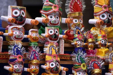 puri: Wooden Sculptures - Jagannath Puri Stock Photo