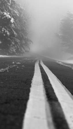 Fog shrouded paved road , double yellow lines