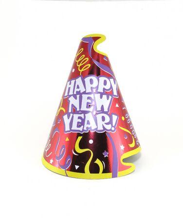 白で幸せな新年のパーティの帽子