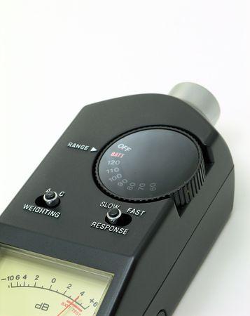 decibels: Audio Sound Level Meter closeup.