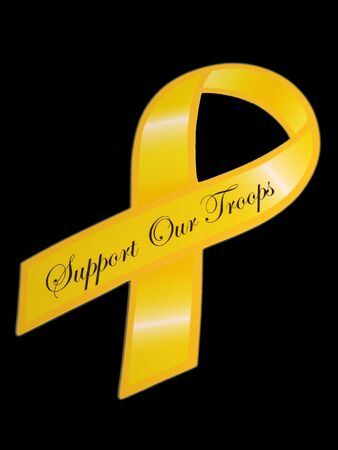 troop: Support our troops yellow ribbon over black Stock Photo