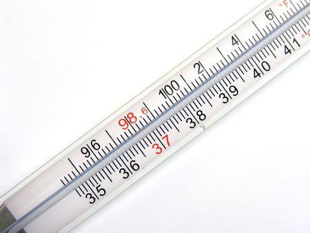 Glass bulb oral thrermometer close up 版權商用圖片