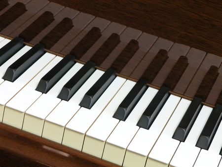 mirror image: Piano keyboard with mirror image reflected in walnut finish