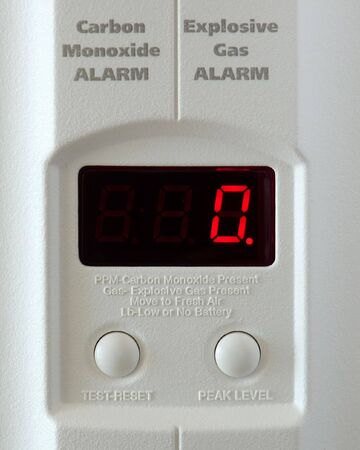 Front panel display of explosive gas and carbon monoxide detector. Stock Photo