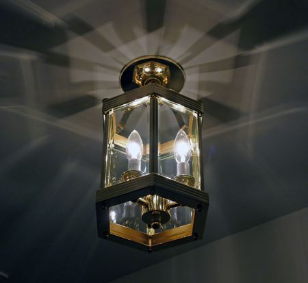 Available light lit hallway fixture with interesting shadows and patterns