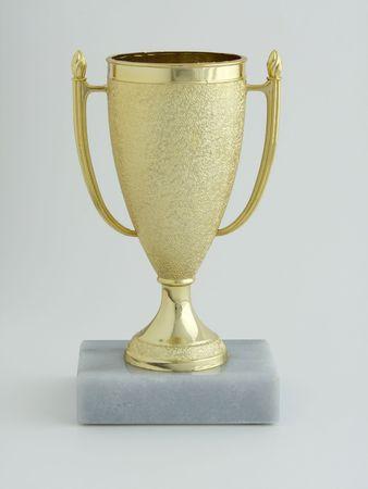 グレーのベースに小さな金の覆われたトロフィー