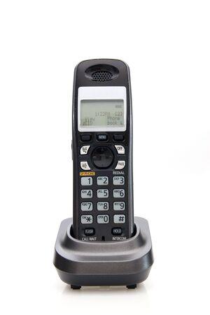 hand held: Palmari portatili wireless telephone over white Archivio Fotografico