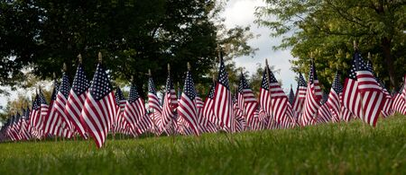 Part of 3000 flags displayed in Sun City Huntley Illinois to honor 911