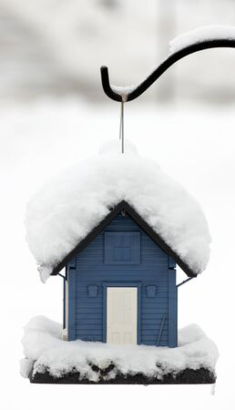 bird feeder: Snow covered blue bird feeder