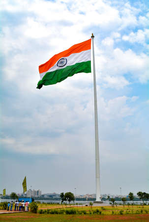 Indian flag waving in a air on independence day of india at Sanjeevaiah Park