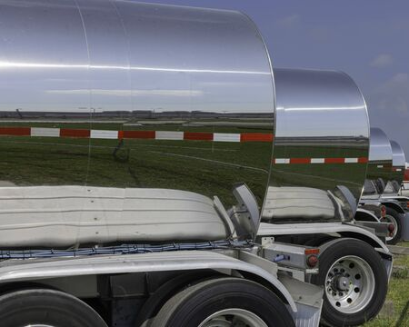 Line of Chemical Tanker Trailers