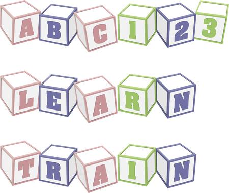 alphabetical order: Kids building blocks Illustration