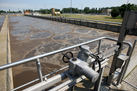 sewage treatment plant: Sewage treatment plant Stock Photo