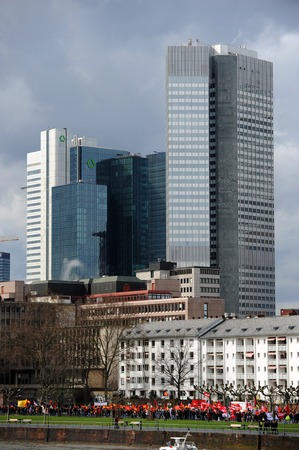 riots: Protest march in Frankfurt am Main Germany during euro crisis with bank towers