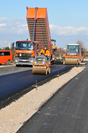 redirection: Mannheim Germany  March 2 2o1o  Workers construct new road Editorial