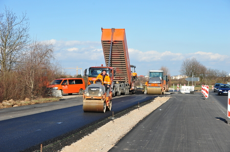 Mannheim Germany  March 2 2o1o  Workers construct new road Editorial