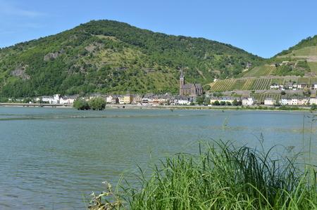 rhein: Lorchhausen with river rhine