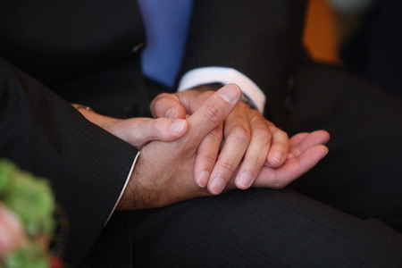 Holding hands at gay marriage